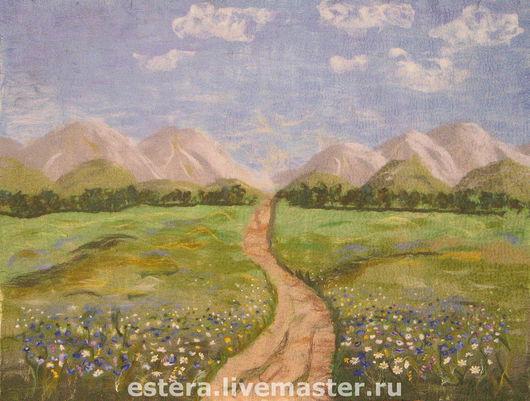 """Пейзаж ручной работы. Ярмарка Мастеров - ручная работа. Купить Панно """"Путь к истоку"""". Handmade. Картина, Мокрое валяние, подарок"""