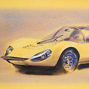 Картины ручной работы. Ярмарка Мастеров - ручная работа Желтая Феррари Ferrari графика картина автомобиль. Handmade.