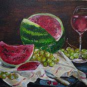 """Картины и панно ручной работы. Ярмарка Мастеров - ручная работа Картина """"Натюрморт с арбузом, вином и виноградом"""" (Сочные ягоды). Handmade."""
