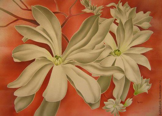 Картины цветов ручной работы. Ярмарка Мастеров - ручная работа. Купить Цветы магнолии. Handmade. Белый, панно, креп-сатин