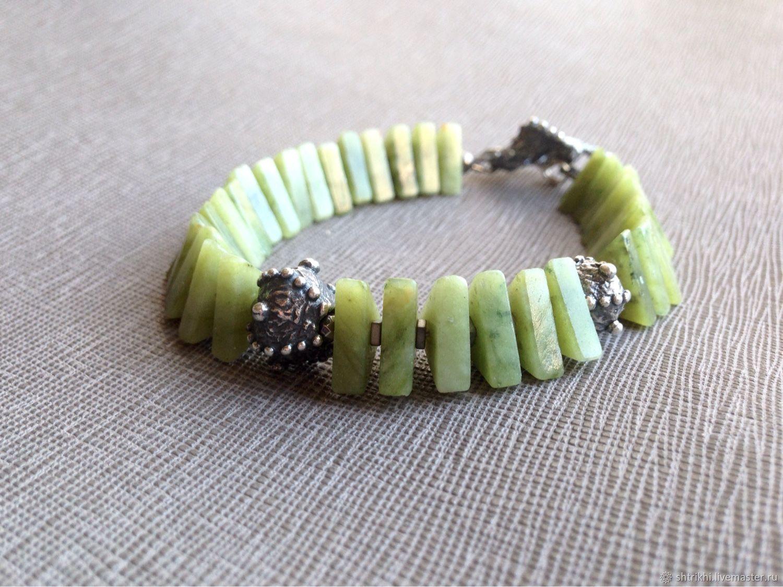 Bracelet made of natural stones Dragon. Jadeite, author's accessories, Bead bracelet, Moscow,  Фото №1