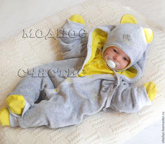 """Для новорожденных, ручной работы. Ярмарка Мастеров - ручная работа. Купить Комплект """"Мой мышонок"""" из 6 предметов желтый. Handmade."""
