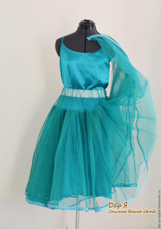 Юбки ручной работы. Ярмарка Мастеров - ручная работа. Купить Нижняя юбка (подъюбник) из цветного фатина с кружевной вязаной каймой. Handmade.