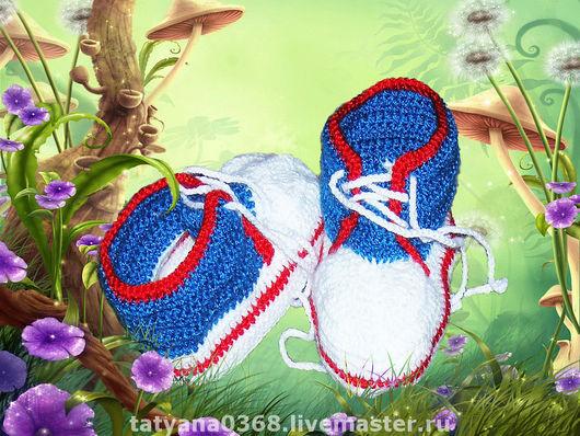 Для новорожденных, ручной работы. Ярмарка Мастеров - ручная работа. Купить КЕДИКИ на малыша.. Handmade. Вязаная обувь
