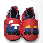 Обувь ручной работы handmade. Livemaster - original item Train Baby Booties, Boys Moccs, Baby Shoes, Locomotive Baby Slippers. Handmade.