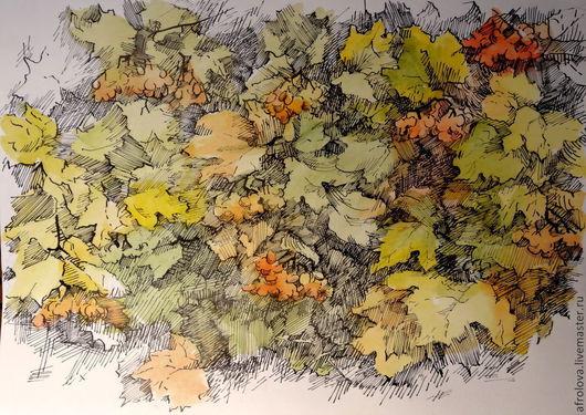 Пейзаж ручной работы. Ярмарка Мастеров - ручная работа. Купить Графика в смешанной технике - Кусты боярышника. Handmade. Оранжевый, зеленый