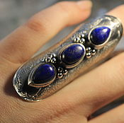 16.5 перстень большой с лазуритами  кольцо серебряное