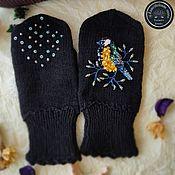 Аксессуары handmade. Livemaster - original item Black mittens with Blue embroidery. Handmade.