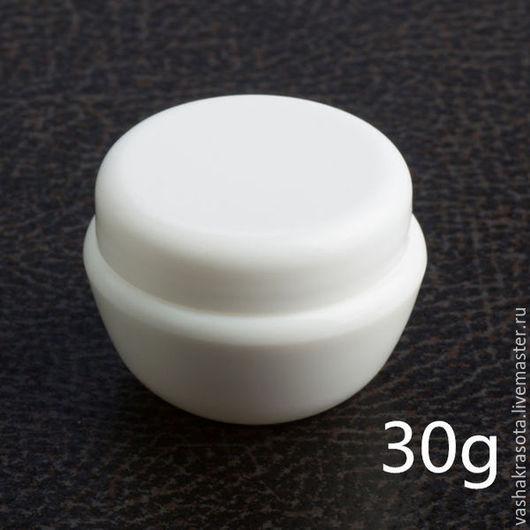 Упаковка ручной работы. Ярмарка Мастеров - ручная работа. Купить Баночка белая 30 гр. Handmade. Сиреневый, баночка для крема
