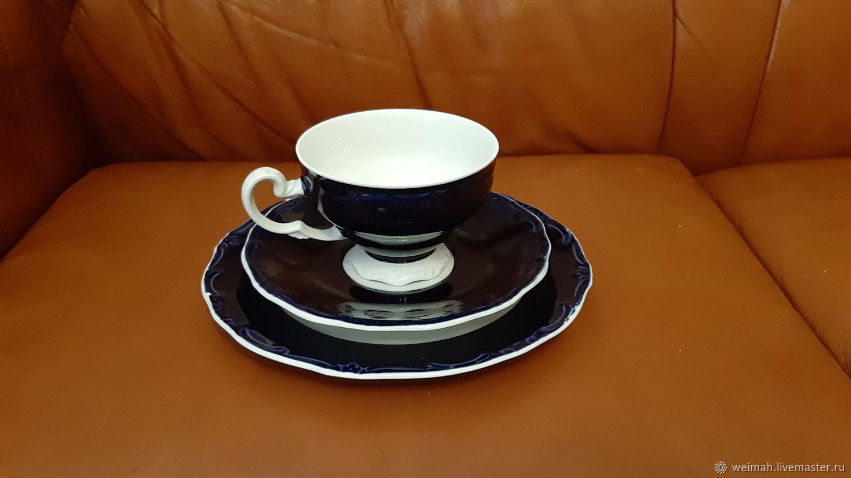 Weimar Germany Two coffee tea triples 1960 COBALT, Vintage sets, Leipzig,  Фото №1