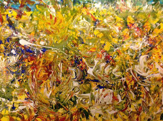 Абстракция ручной работы. Ярмарка Мастеров - ручная работа. Купить Цветочный калейдоскоп. Смешанная техника.. Handmade. Желтый, недорогие подарки