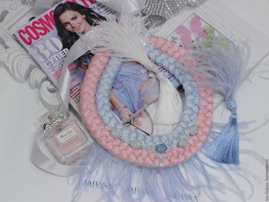 """Колье, бусы ручной работы. Ярмарка Мастеров - ручная работа. Купить Колье - коса """"Воздух"""", розовый кварц+серенити. Handmade. Голубой"""