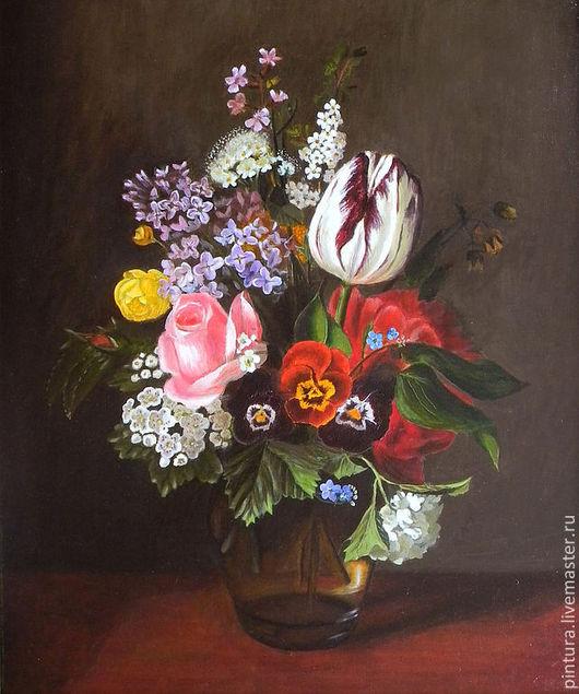 Картины цветов ручной работы. Ярмарка Мастеров - ручная работа. Купить Букет старого мастера. Handmade. Коричневый, тюльпаны, роза