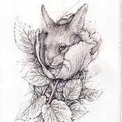 Картины и панно ручной работы. Ярмарка Мастеров - ручная работа Кролик.(в частной коллекции). Handmade.