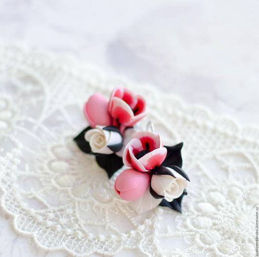 Серьги ручной работы. Ярмарка Мастеров - ручная работа. Купить Серьги Маки и розы. Handmade. Серьги, купить серьги, маки