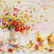 """Картины и панно ручной работы. Ярмарка Мастеров - ручная работа картина """"Осенний дуэт:  цветы и спелые груши"""". Handmade."""