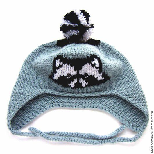 Шапки ручной работы. Ярмарка Мастеров - ручная работа. Купить Енотовидная шапка. Handmade. Серый, шапка вязаная, шапка зимняя