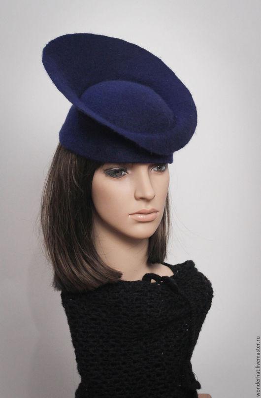 """Шляпы ручной работы. Ярмарка Мастеров - ручная работа. Купить Шляпка """"Нимб счастья)"""". Handmade. Тёмно-синий, женская шляпка"""
