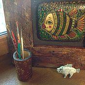 Картины и панно ручной работы. Ярмарка Мастеров - ручная работа Рыба. Живопись на дереве.. Handmade.