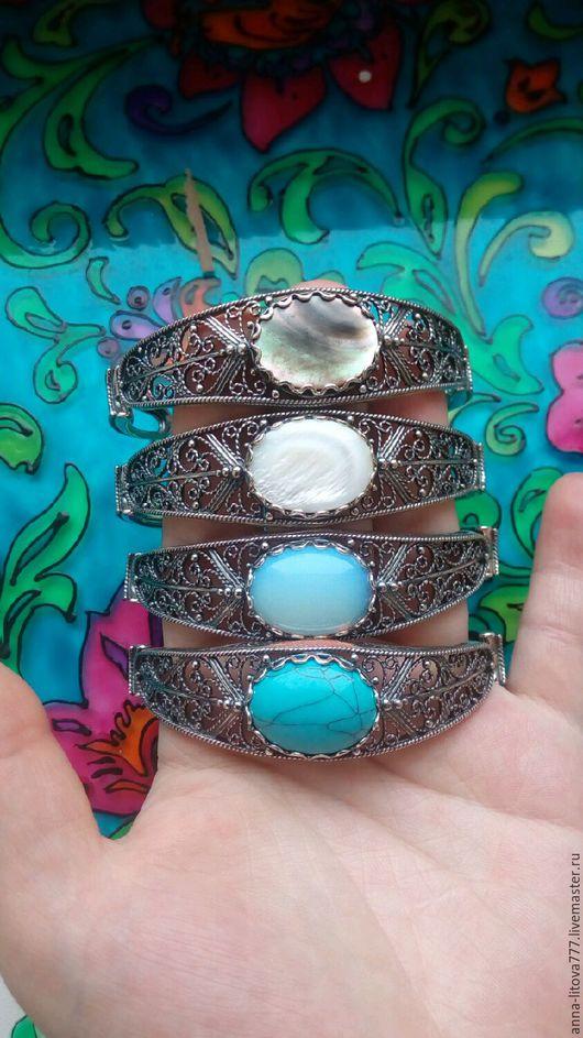 Браслеты ручной работы. Ярмарка Мастеров - ручная работа. Купить 195 Браслет серебрение с камнями. Handmade. Браслет с камнями