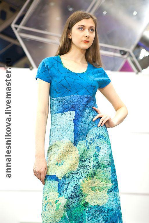 """Платья ручной работы. Ярмарка Мастеров - ручная работа. Купить Платье """"Бирюза"""". Handmade. Платье, платье войлочное, батик"""