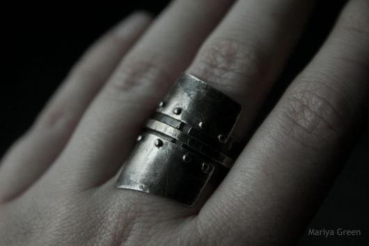 Кольца ручной работы. Ярмарка Мастеров - ручная работа. Купить Shell. Handmade. Щит, клепаный, необычное кольцо, бойницы