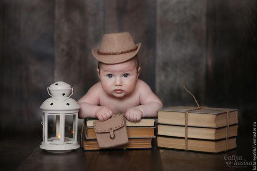 """Для новорожденных, ручной работы. Ярмарка Мастеров - ручная работа. Купить Комплект для фотосессии """"Шляпа и портфель"""". Handmade. Бежевый, фотографу"""