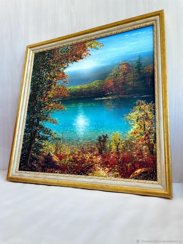 Лесное озеро (бисер), Картины, Челябинск,  Фото №1