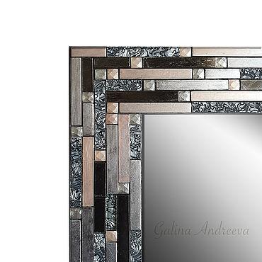 Для дома и интерьера ручной работы. Ярмарка Мастеров - ручная работа Зеркала: Зеркало для ванной комнаты с металлической плиткой. 80х60 см. Handmade.