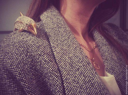 Винтажные украшения. Ярмарка Мастеров - ручная работа. Купить Крупная винтажная наплечная брошь дельфин. Handmade. Серебряный