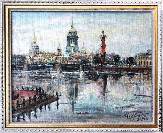 Город ручной работы. Ярмарка Мастеров - ручная работа. Купить Санкт-Петербург. Handmade. Городской пейзаж, город, картина в подарок