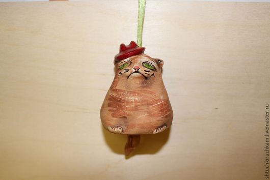 """Статуэтки ручной работы. Ярмарка Мастеров - ручная работа. Купить Колокольчик керамический """"Толстый кот"""". Handmade. Разноцветный, Керамика"""