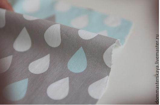 Шитье ручной работы. Ярмарка Мастеров - ручная работа. Купить 100% хлопок, Корея, misty blue gray капли. Handmade.