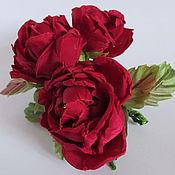 """Украшения ручной работы. Ярмарка Мастеров - ручная работа Заколка - брошь  """"Бордовые розы"""". Handmade."""