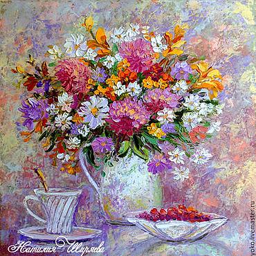 """Картины и панно ручной работы. Ярмарка Мастеров - ручная работа """"Летний Завтрак"""" картина маслом с цветами. Handmade."""