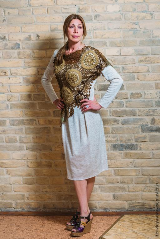 """Кофты и свитера ручной работы. Ярмарка Мастеров - ручная работа. Купить Платье """"Кружевной футляр"""". Handmade. Бежевый, комбинированный, крючком"""