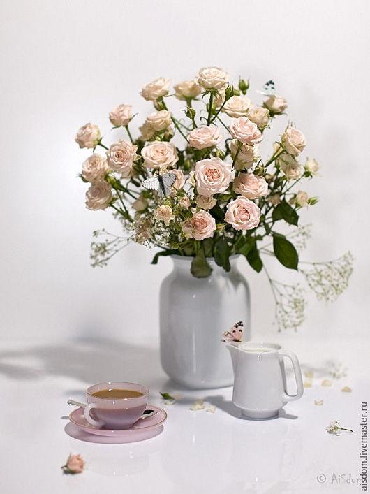 """Фотокартины ручной работы. Ярмарка Мастеров - ручная работа. Купить Натюрморт """"Розовое утро"""". Handmade. Бледно-розовый, белый, розы"""