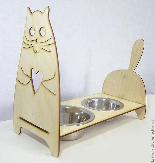 Аксессуары для кошек, ручной работы. Ярмарка Мастеров - ручная работа. Купить Кормушка для кошки. Handmade. Для кошек, кошка, фанера