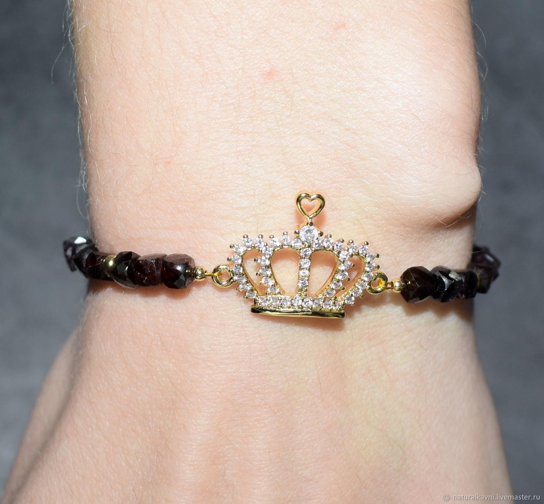 Elegant natural garnet bracelet with Crown pendant', Bead bracelet, Moscow,  Фото №1