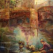 """Картины и панно ручной работы. Ярмарка Мастеров - ручная работа Картина""""Куда уходит детство """"городской пейзаж. Handmade."""