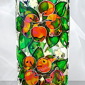 Посуда handmade. Livemaster - original item Bottle Apples of Paradise, stained glass painting. Handmade.