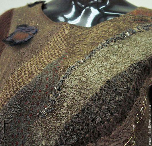 Платья ручной работы. Ярмарка Мастеров - ручная работа. Купить Валяное платье Дриада. Handmade. Хаки, вязание, бисер