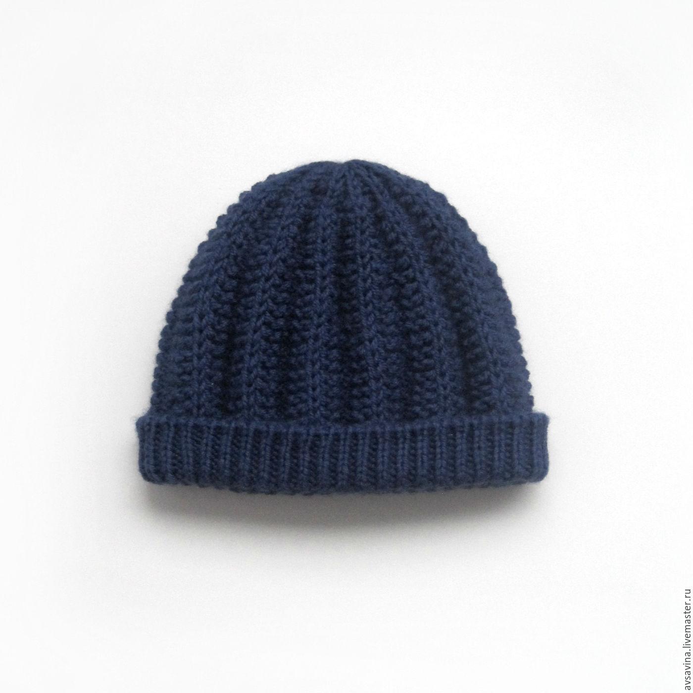 мужская вязаная шапка с подкладом из флиса синяя купить в интернет