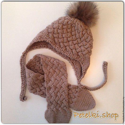 Шапки и шарфы ручной работы. Ярмарка Мастеров - ручная работа. Купить Вязаная детская шапочка с помпоном из натурального меха. Handmade.