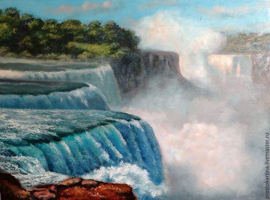 """Пейзаж ручной работы. Ярмарка Мастеров - ручная работа. Купить """"Водопад"""". Handmade. Голубой, пейзаж с водой, картины"""