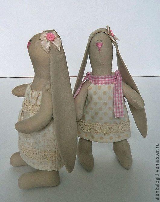 Куклы Тильды ручной работы. Ярмарка Мастеров - ручная работа. Купить Зайки малышки ПРОДАНЫ. Handmade. Бежевый, текстильный заяц