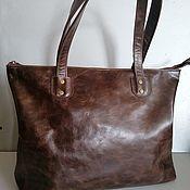 Сумки и аксессуары handmade. Livemaster - original item Bag Leather Women`s Shopping Bag Brown Vintage. Handmade.