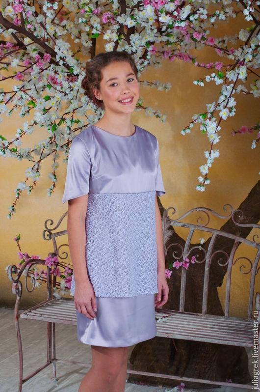 Одежда для девочек, ручной работы. Ярмарка Мастеров - ручная работа. Купить Платье для девочки (13-14 лет). Handmade. Сиреневый