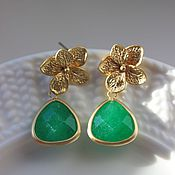 Украшения handmade. Livemaster - original item Earrings Emerald Orchid. Handmade.