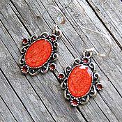 Украшения handmade. Livemaster - original item Earrings painted red. Handmade.